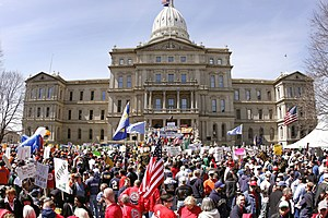 Labor Union Stage Protest At Michigan's Capitol