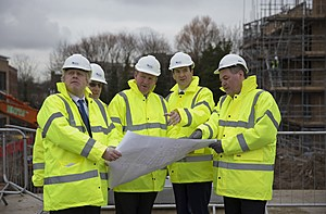 George Osborne and Boris Johnson Visit The Aura Residential Development